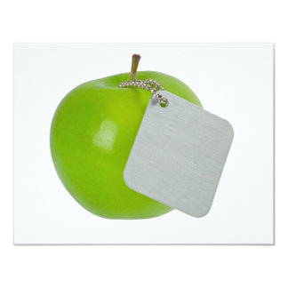 Green apple with metal tag 11 cm x 14 cm invitation card