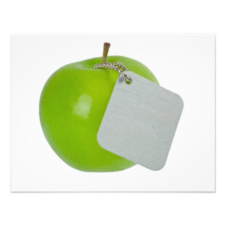 Green apple with metal tag personalized invites