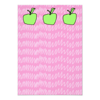 Green Apple with Patterned Background. Card