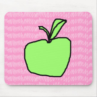 Green Apple with Patterned Background. Mouse Pad