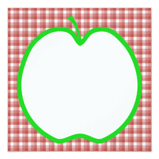 Green Apple with Red and White Check Pattern. 13 Cm X 13 Cm Square Invitation Card
