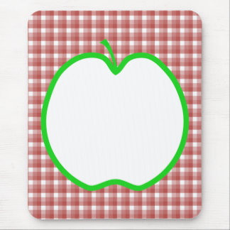 Green Apple with Red and White Check Pattern. Mouse Pad