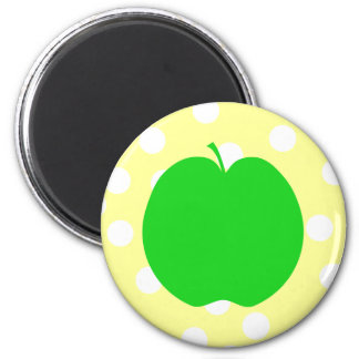 Green Apple with Spotty Background Magnet
