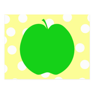 Green Apple with Spotty Background. Postcard