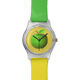 Green Apple Yellow Simple Minimalistic Cool Fruit Wrist Watch