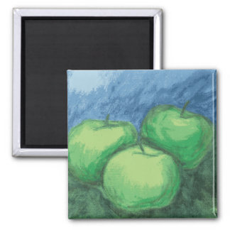 Green Apples in Oil Pastels Square Magnet