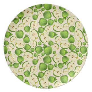 Green Apples on Off White Fruit plate