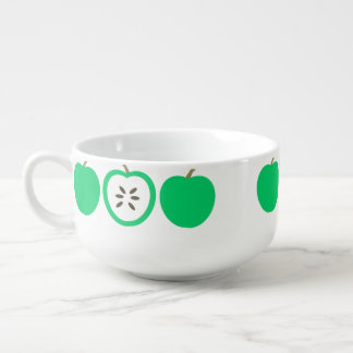 Green Apples Soup Bowl With Handle