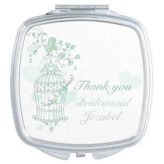 Green aqua bird wedding favor bridesmaid mirror mirror for makeup