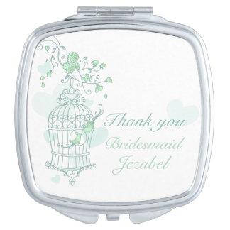 Green aqua bird wedding favor bridesmaid mirror compact mirror