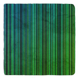 Green aqua blue stripe stone trivet