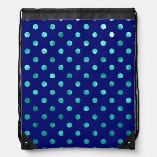 Green Aqua Turquoise Metallic Faux Foil Polka Dots Drawstring Bag