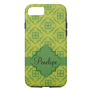 Green Arabesque Moroccan Graphic Name Personalized iPhone 7 Case
