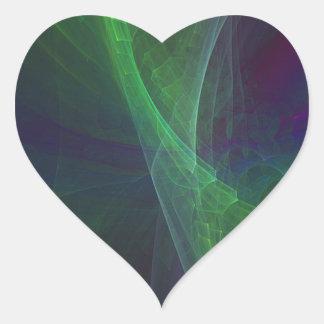 Green arcs heart sticker