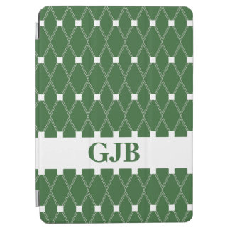Green Argyle Lattice with monogram iPad Air Cover
