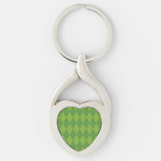 Green Argyle Silver-Colored Twisted Heart Keychain