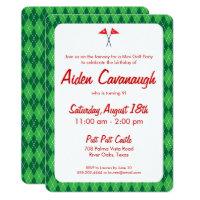 Mini golf birthday invitations announcements zazzle green argyle mini golf kids birthday invitations filmwisefo Choice Image