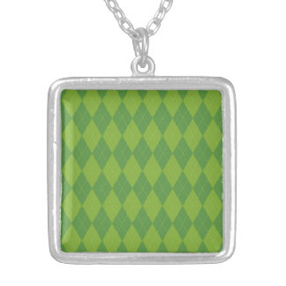 Green Argyle Personalized Necklace