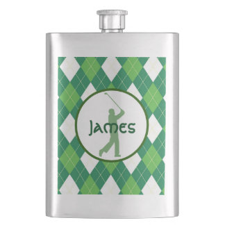 Green Argyle Pattern and Golf Hip Flask