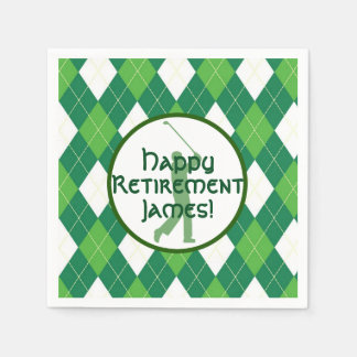 Green Argyle Pattern and Golf Party Disposable Serviettes
