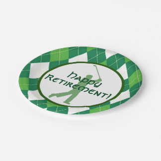Green Argyle Pattern and Golf Party Paper Plate