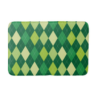 Green argyle pattern bath mat