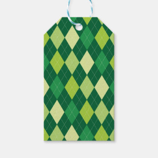 Green argyle pattern gift tags