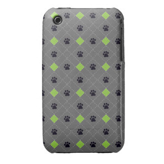 Green Argyle Paw Prints iPhone 3 Cover