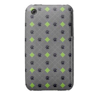 Green Argyle Paw Prints iPhone 3 Case-Mate Case