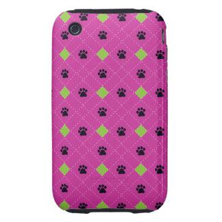 Green Argyle Paw Prints iPhone 3 Tough Cases