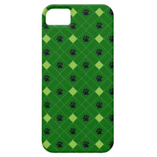 Green Argyle Paw Prints iPhone 5 Cases