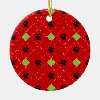 Green Argyle Paw Prints Round Ceramic Decoration