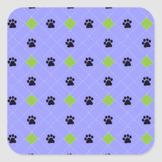 Green Argyle Paw Prints Square Sticker
