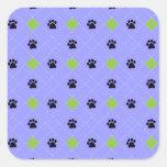 Green Argyle Paw Prints Stickers