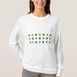 Green Argyle Paw Prints T-Shirt
