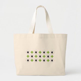Green Argyle Paw Prints Tote Bags