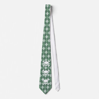Green Argyle Skull Tie