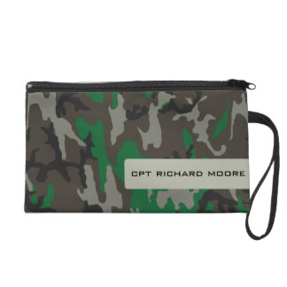 Green Army Camouflage Wristlet Pouch