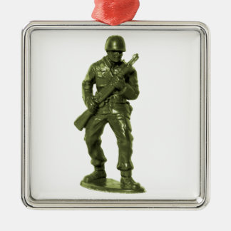 Green Army Man Silver-Colored Square Decoration