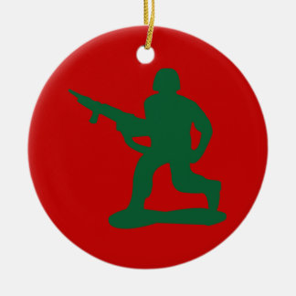 Green Army Men Double-Sided Ceramic Round Christmas Ornament