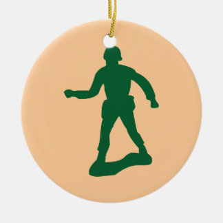 Green Army Men Round Ceramic Decoration
