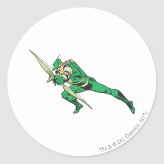 Green Arrow Crouches Classic Round Sticker