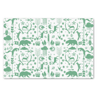 Green Arrows Deer Bears and Clouds Pattern Tissue Paper