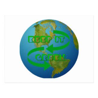 Green arrows Ecology Postcard