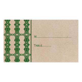 Green Art Deco Border Place Card Double-Sided Standard Business Cards (Pack Of 100)