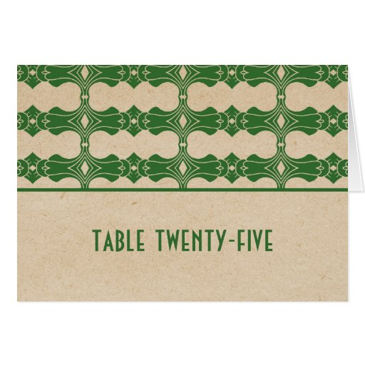 Green Art Deco Border Table Number Card