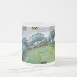 Green Asian Dragon Frosted Glass Mug