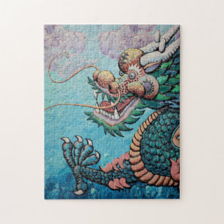 Green Asian Style Dragon Jigsaw Puzzle