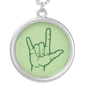 Green ASL I Love You Hand Necklace