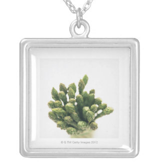 Green Asparagus Silver Plated Necklace